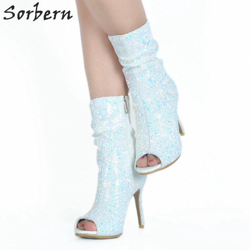 Sorbern White Sequins Bling Ankle Boots For Women Open Toe High Heels Spring Boots Open Toe Ankle Boots 2018 Fashion Shoes sorbern sexy red ankle boots for women open toe lace up front super high heels 2018 women ankle booties cowgirl girls shoes