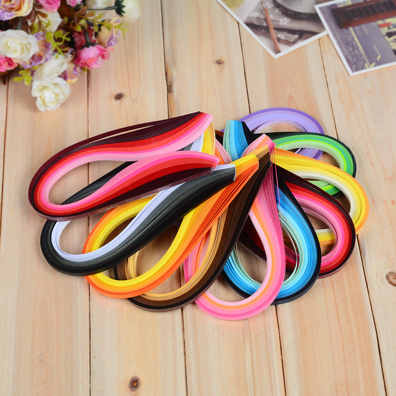 9Color 100Stripes Colorful Quilling Paper Assorted Kids Favor Handmade Paper Flower Gift For DIY Scrapbooking Decor Paper Crafts
