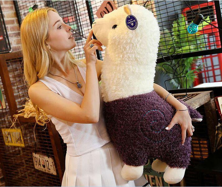 Joli dessin animé en peluche alpaga grand 65 cm blanc-violet alpaga mouton doux poupée calin oreiller cadeau d'anniversaire h2360