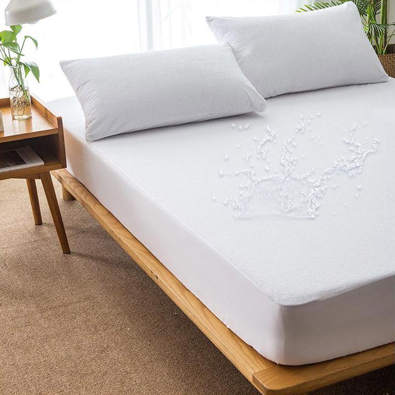 Solid Waterproof Mattress Pad Cover Bed Elastic Dust Mite Mattress Cover Protector Colchon Machine Washable Breathable Bed Sheet