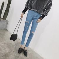 Fashion Women Jeans Leggings Holes Sexy Leggings Pencil Stretch Casual Denim Skinny Ripped Pants High Waist Jeans Trouser