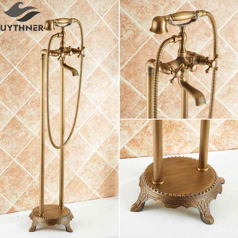 Uythner Solid Brass Antique Brass Dual Handle Bathroom Free Standing Tub Faucet Floor Mount Bathtub Mixer Taps with Handshower oil rubbed bronze waterfall tub mixer faucet free standing floor mount bathtub faucet with handshower