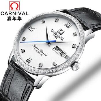95f29316 2018 Новый Для мужчин Бизнес автоматические механические часы  минималистский Дизайн Швейцария часы карнавал Элитный бренд кожаным ремешком