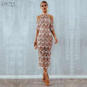Image 3 - Adyce Elegant Sequined Evening Party Dress Vestidos 2020 New Mesh Runway Club Dress Sexy Night Club Tassels Woman Fringe Dresses