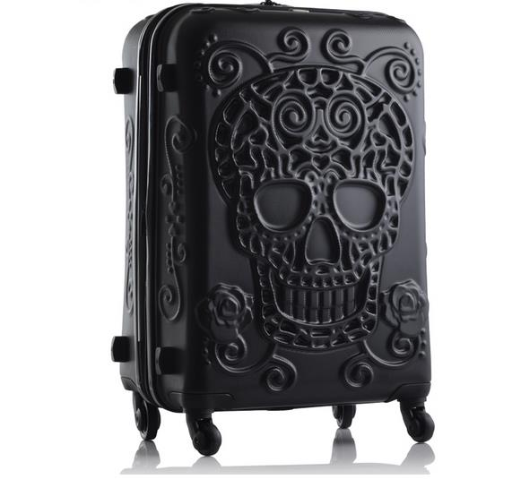 LeTrend original 3d skull Rolling Luggage Spinner men black Travel Bag Suitcase Wheels 20 inch Women white Carry On Trolley