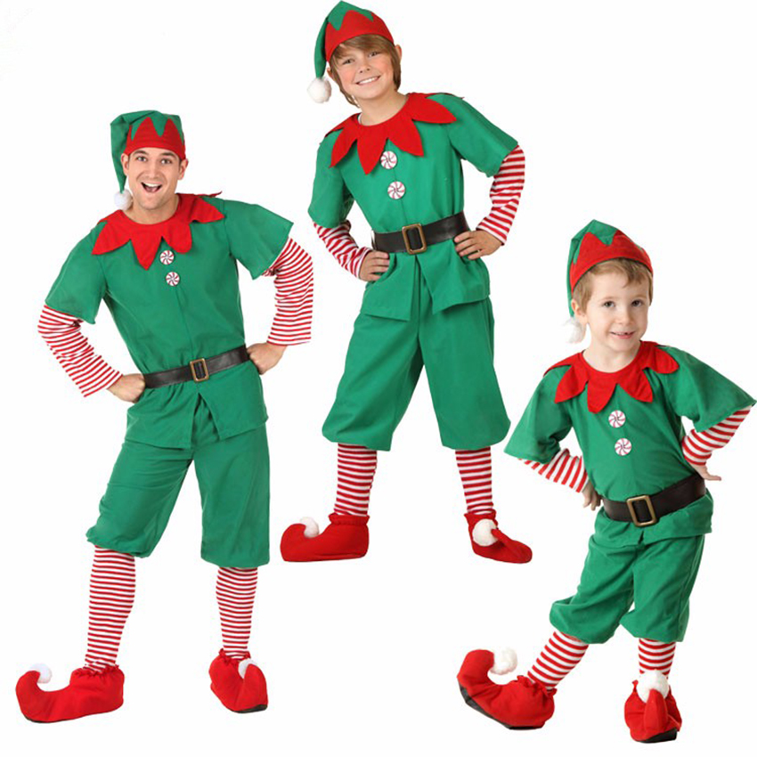 christmas elves costumes family matching clothes mother and me dress father and son long sleeve sets halloween christmas hat in matching family outfits from