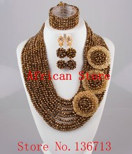 2015 Best Selling Red African Crystal Beads Jewelry Set Nigerian Beads For African Wedding Free Shipping SD107-6