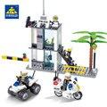 Centro de mando de la policía kazi motocicleta building blocks establece ladrillos modelo brinquedos educativos juguetes para niños de 6 + 193 pcs 6728