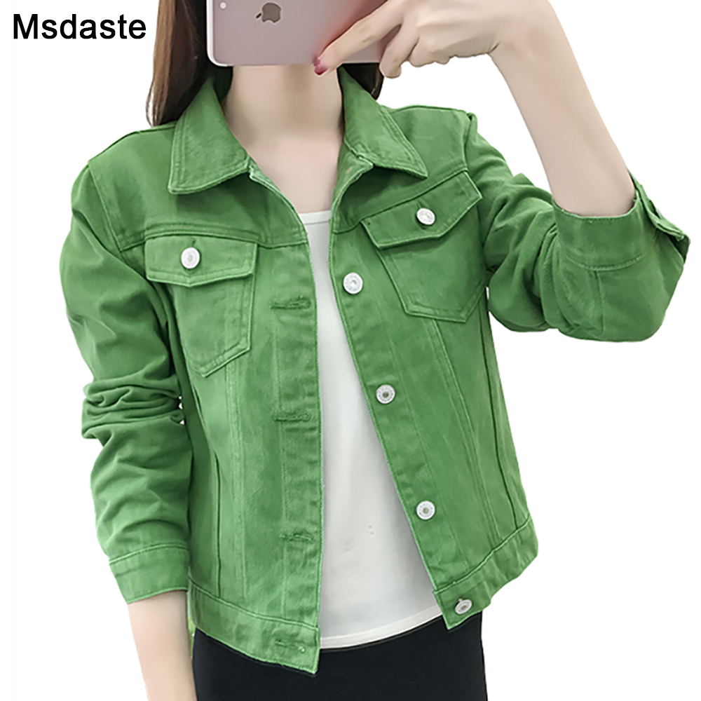 Basic   Jeans   Jacket   Women Green 2019 Autumn Woman Denim Jean Womens Coats   Jackets   Female Slim Stretch Short Coat Feminina Clothes