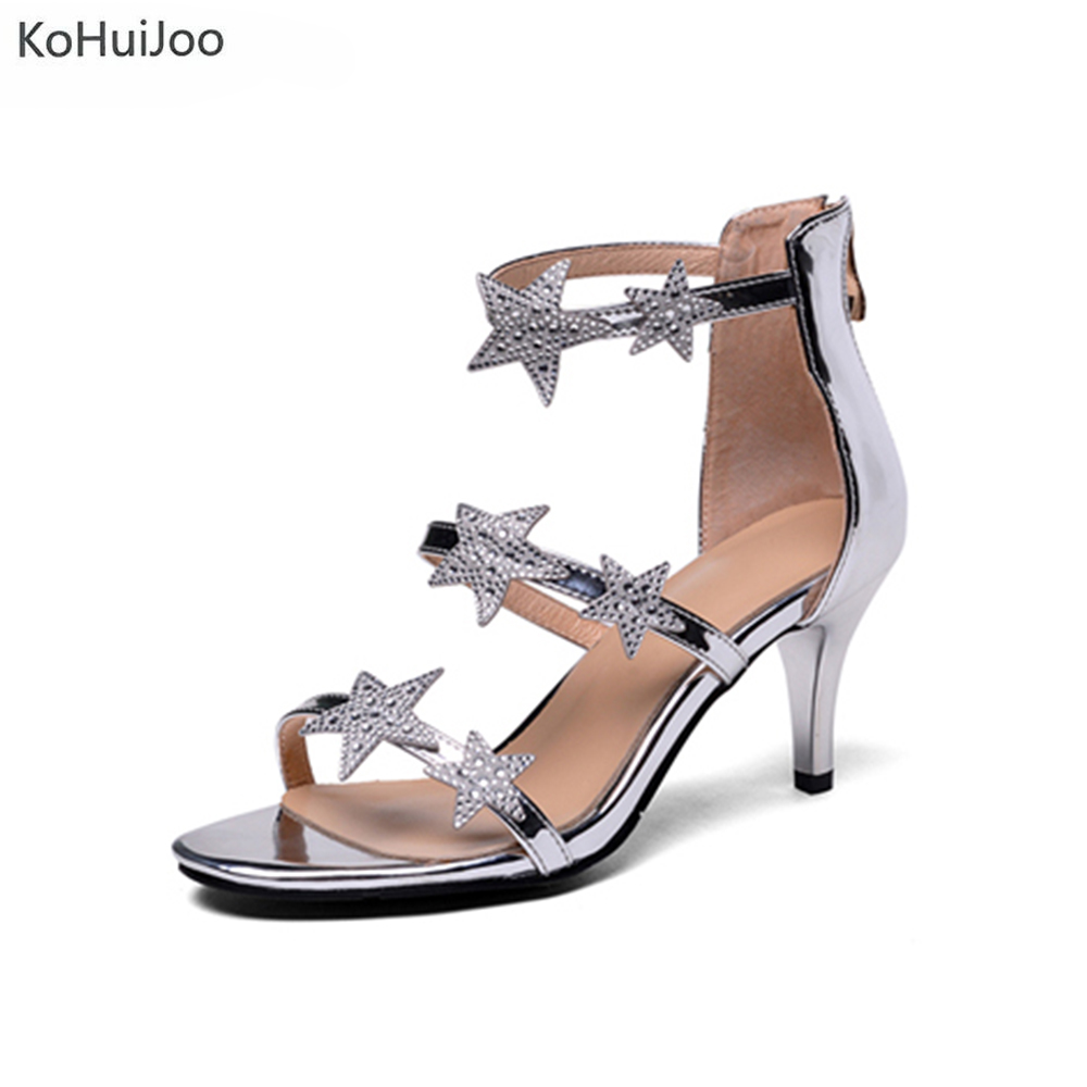 KoHuiJoo Hot Sandals Summer Shoes New Sexy High Heels Peep Toe Platform Shoes Black Silver Gold Sandals Woman Wedding Shoes 2018 cdts 35 45 46 summer zapatos mujer peep toe sandals 15cm thin high heels flowers crystal platform sexy woman shoes wedding pumps