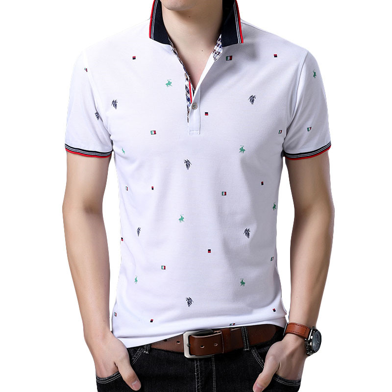 LEFT ROM 2019 New Summer Men   Polo   Shirt Cotton Stand Collar Print Short-sleeve   Polo   Homme Casual Men Camisa   POLO   shirts