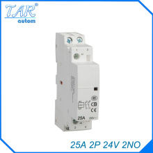 24V Coil 25A  2NO 2 Pole 2P Household AC Contactor Modular 35mm DIN Rail Mount 25Amp цена 2017