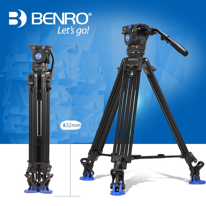 Benro BV6 Video Tripod Professional Auminium Camera Tripods BV6 Video Head QR13 Plate Carrying Bag DHL Free Shipping benro pc0 head professional panoramas heads for camera magnesium alloy panhead panoramas clamp max loading 5kg dhl free shipping