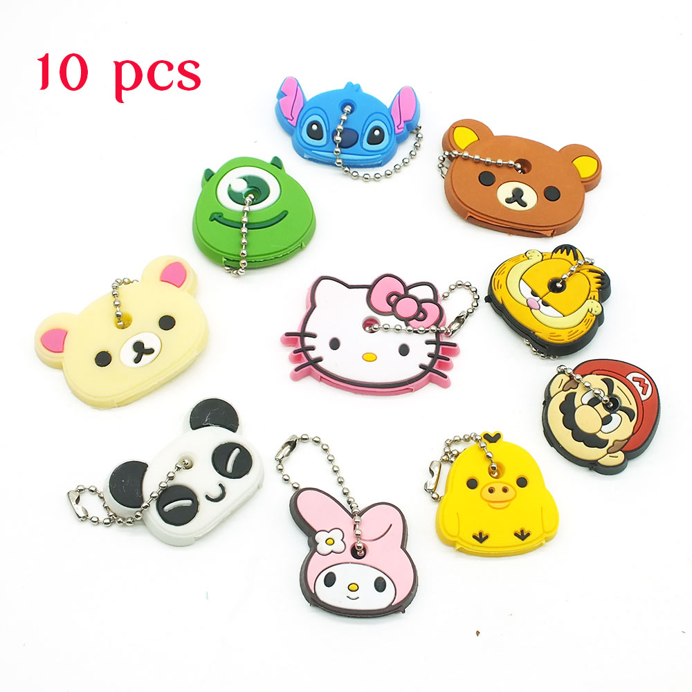 10 PCS a SET  animal keychain cartoon key chain Anime Mario Garfield keycover super her key caps Children Car Keychain