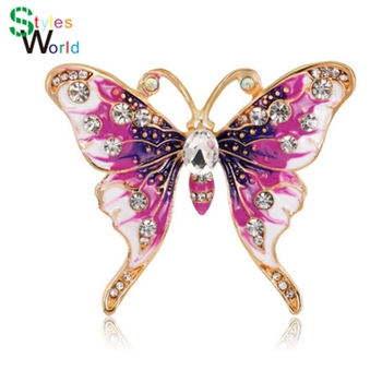 Rinhoo Beautiful pink Butterfly Small Insect Brooch Pins Animal Brooches for Women Decoration Jewelry Accessories