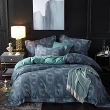 Papa&Mima Ring print Luxurious Sanding cotton bedding set Queen King size bedlinens flat sheet pillowcases duvet cover sets(China)