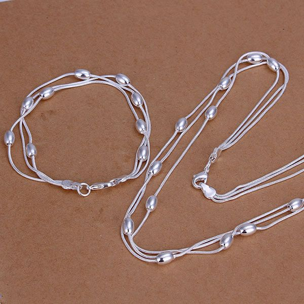 S140 Hot sale free shipping silver fine jewelry sets, 925-Sterling-Silver charms fashion Egg Triple Strands Bracelet Necklace