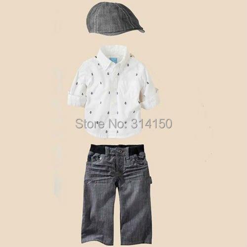 Детская Одежда для мальчиков комплект одежды из 3 предметов рубашка+ Штаны+ модная шапка, одежда для мальчиков хлопковый комплект летняя одежда 1 компл./лот