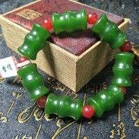 Send A level national certificate Natural Hetian Biyu Bracelet Green Bamboo Festival Red Bead Bracelet