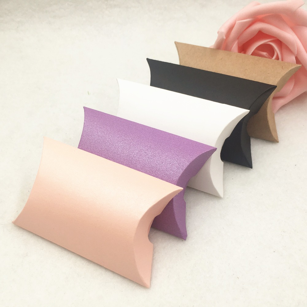 50pcs Kraft Paper Small Gift Boxes Jewelry Packing Box Handmade Pillow Shaped Gift Box For Candy/Cake/Earring/Necklaces