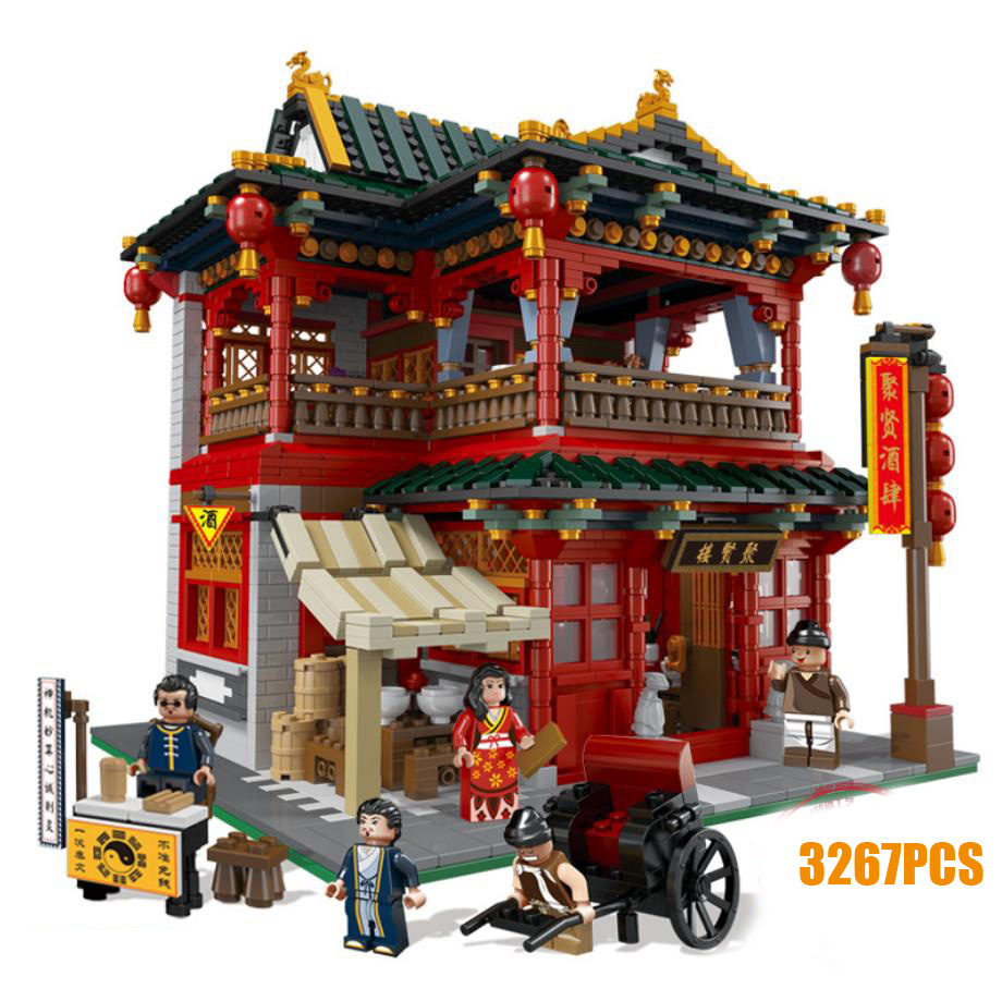 City street view Chinatown Juxian Restaurant MOC building block Rickshaw Man fortuneteller figures bricks toys collectionCity street view Chinatown Juxian Restaurant MOC building block Rickshaw Man fortuneteller figures bricks toys collection