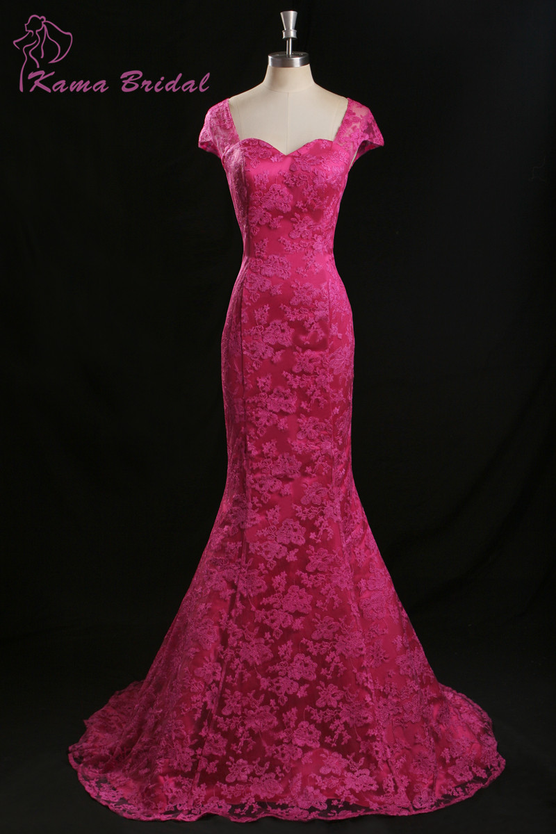 KAMA BRIDAL Glamorous Fuchsia Lace Evening Dress with Sweep Train ...