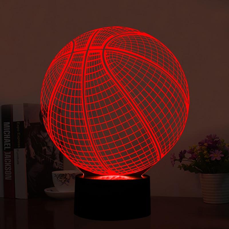 3D LED-illusionslampe Basketballform LED-kunst skulptur Natlamper 7 farver USB-skrivebordslampe som boligdekoration & gaver