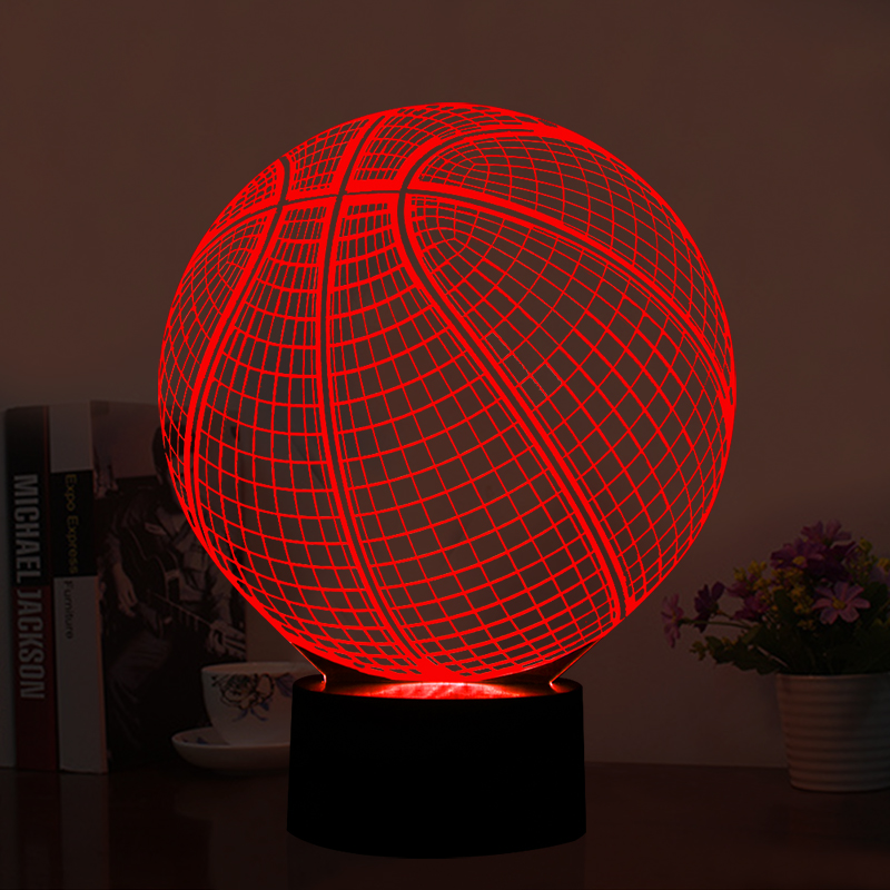 3D LED Illusion Lamp Basketball Shape LED Art Sculpture Night Lights 7 Colors USB Desk Lamp as  Home Decoration & Gifts