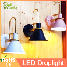 Wooden Wall Lamp Nordic Sconce Simple creative wall light led bulb E27 110V 220V bedroom decoration Modern designer