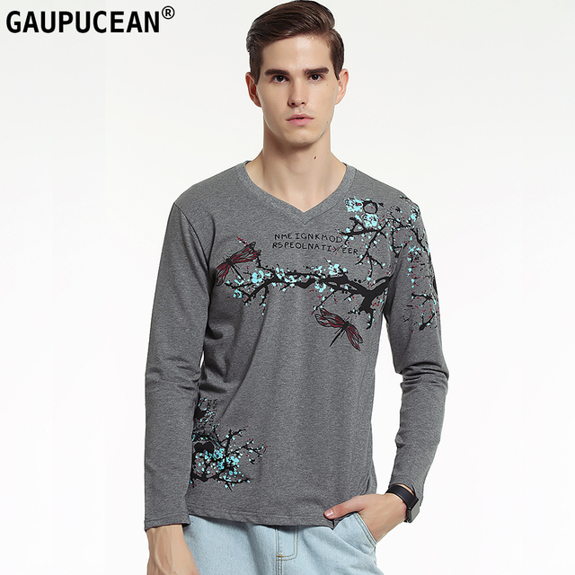 e33e9254504 Genuine Gaupucean Cotton Man T-shirt V-neck Fashion Dragonfly Printed Grey  Black White Spandex Autumn Men Long Sleeve T Shirt