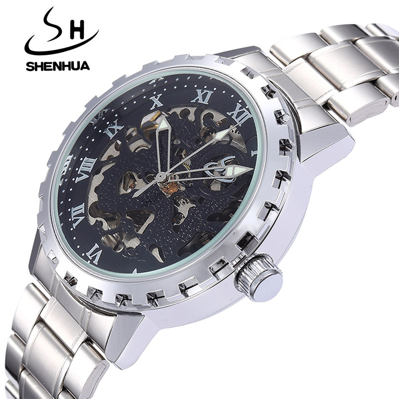 Luxury Men Mechanical Watch SHENHUA Fashion Male Waterproof Shockproof Clock Skeleton Watch Gear Automatic Self Wind Wristwatch shenhua luxury gold flywheel automatic mechanical skeleton watch men male waterproof clock hollow transparent watch wrist watch