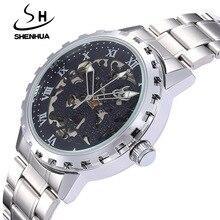 Luxury Men Mechanical Watch SHENHUA Fashion Male Waterproof Shockproof Clock Skeleton Watch Gear Automatic Self Wind Wristwatch