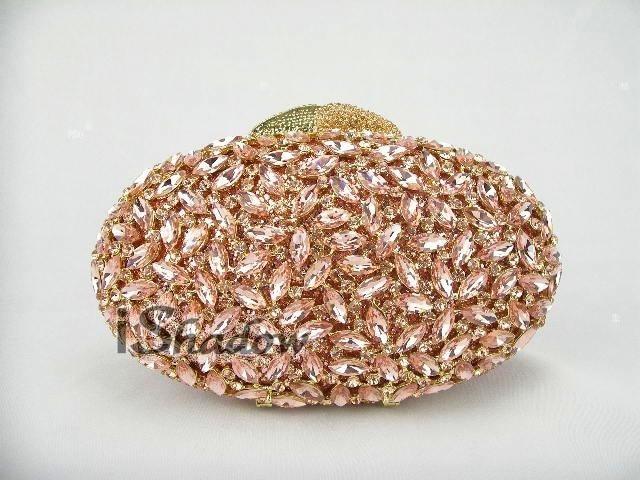 ФОТО 8232 PEACH Crystal OVAL egg Wedding Bridal Party Night hollow Metal Evening purse clutch bag case handbag