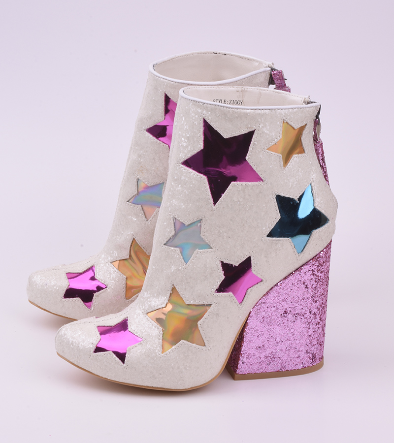 Sestito Woman Shinning Glitter Chunky High Heels Ankle Boots Ladies Cute Stars Patchwork Tassel Boots Girls Pointed Toe Shoes sestito 2018 woman shinning rhinestone decorated pointed toe knee high boots chunky heels dress shoes ladies pleated long boots