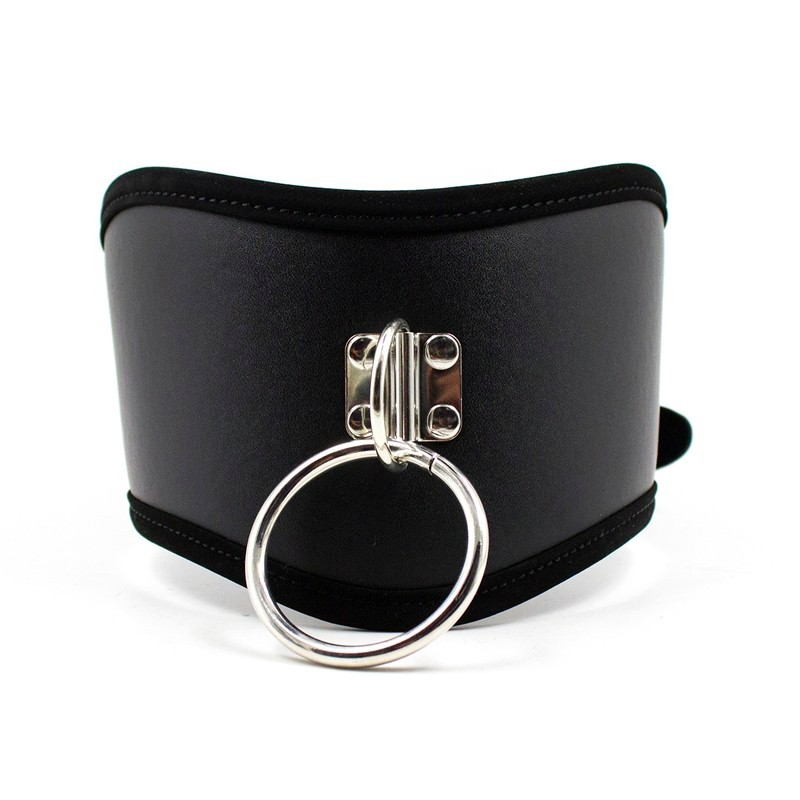 <font><b>Lady</b></font> Black PU Leather Collars Chastity Neck Collar Fetish Choker Bondage Restraint <font><b>Sex</b></font> <font><b>Toys</b></font> Erotic Posture Collar image