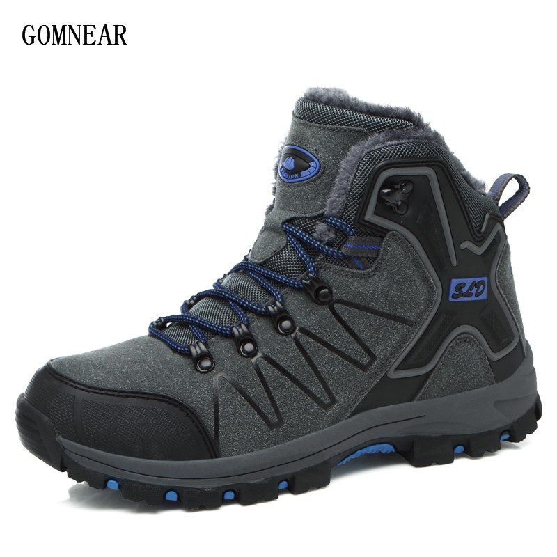 GOMNEAR Winter Men's  Plus Velvet Warm Hiking Boots Outdoor Trekking Tourism Sport Shoes Outing Adventure Cycling Trend Sneakers розетка qt tbsn 330