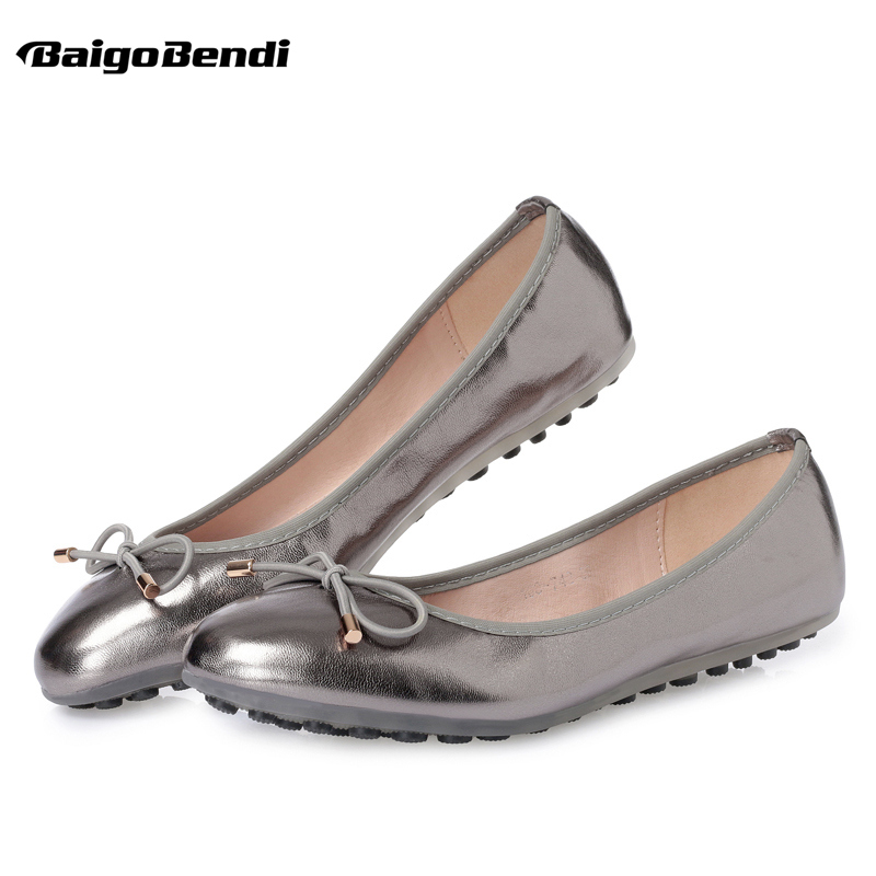 US5 9 Light Weight Soft PU Leather Comfort Gold Silver Woman Flats SLIP ON Loafer Ladies Summer Bowknot Ballerina Shoes