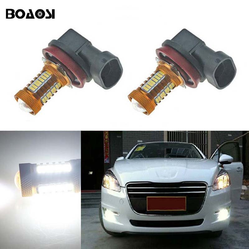 BOAOSI 2x H8 H11 Car LED Light Bulb Auto Fog Light Lamps For citroen c2 c4 c4l c5 triumph boaosi 2x led h8 h11 car fog driving lamp light bulb for bmw e39 325 328 m mini sport