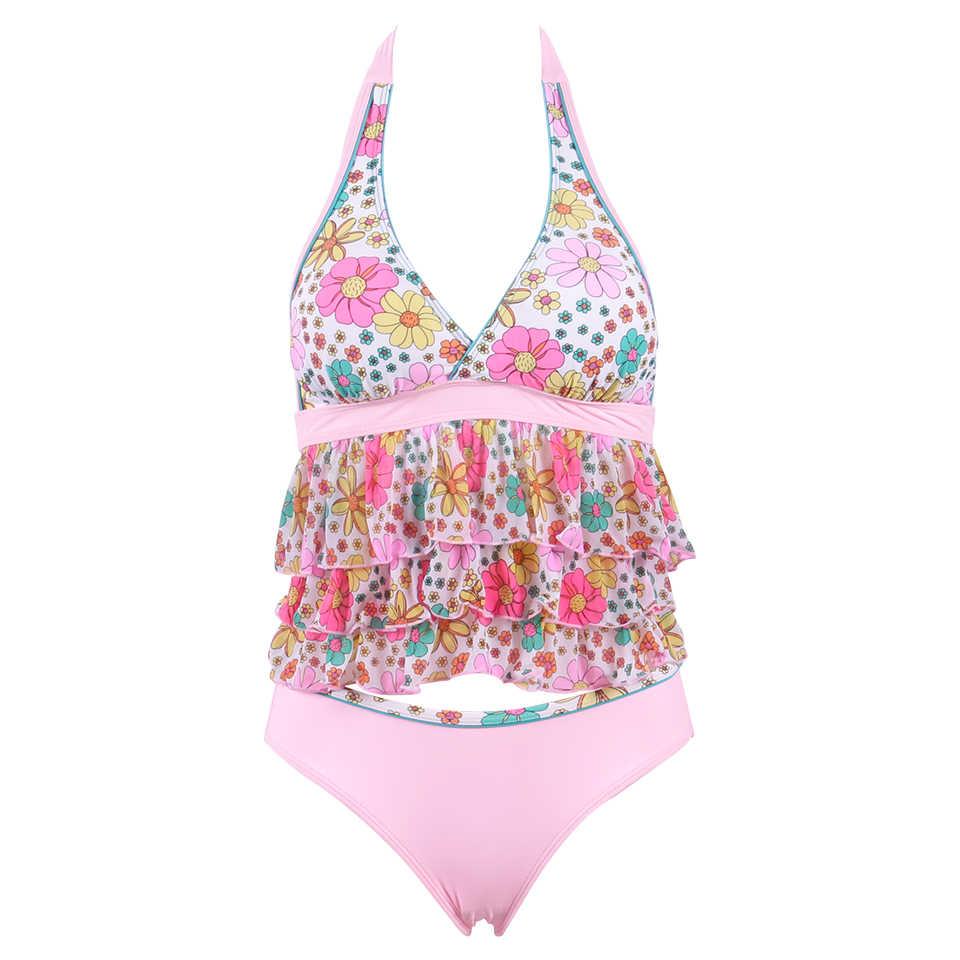 Raintropical женское платье бикини 2019 принт подол бикини набор топ c бретелькой через шею купальник пуш-ап купальник Женская одежда для плавания купальный костюм