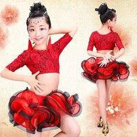 Девушка латинский танец платье Румба Самба Одежда Девушки Сальса Платья Девушки Этап носить костюмы Детские бальные туалетный