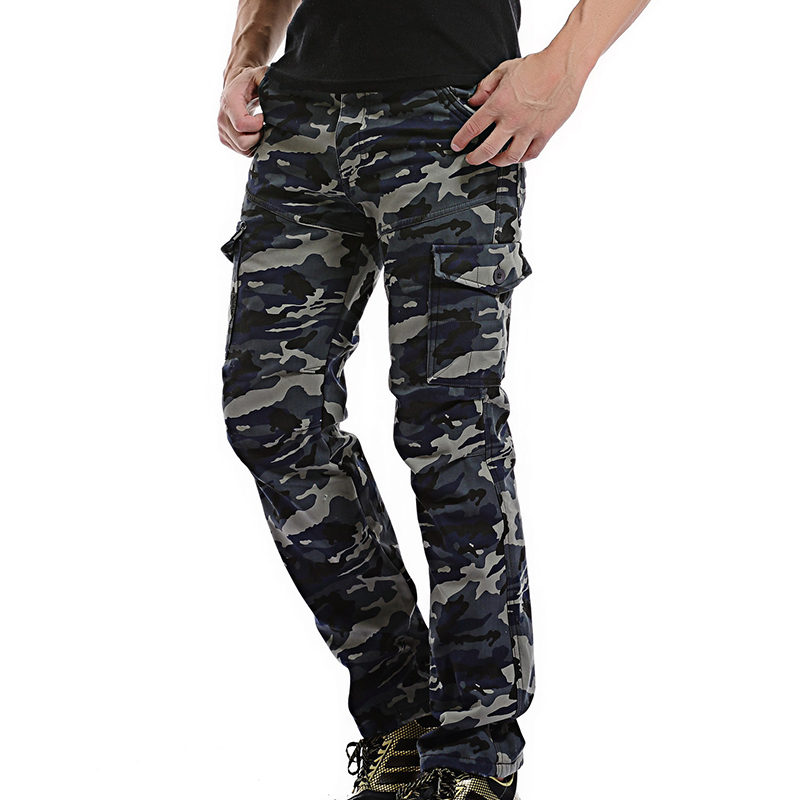 2017 New Mens Cargo Pants Winter Thicken Fleece army camo Cargo Pants Men Cotton Military Tactical Baggy Pants Warm Trousers 40