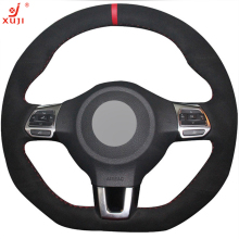 XuJi Black Suede DIY Hand-stitched Car Steering Wheel Cover for Volkswagen Golf 6 GTI MK6 VW Polo GTI Scirocco R Passat CC R-Lin