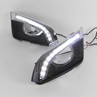 For CHEVROLET CAPTIVA 2011 2015 Auto 12V LED Car DRL Daytime Running Light fog lamp hole Turn Signal and Turn off style Relay
