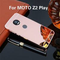 Mirror PC Back Cover Cases For MOTO Z2 Play Anti-knock Protection Case Plating Aluminum Metal Frame