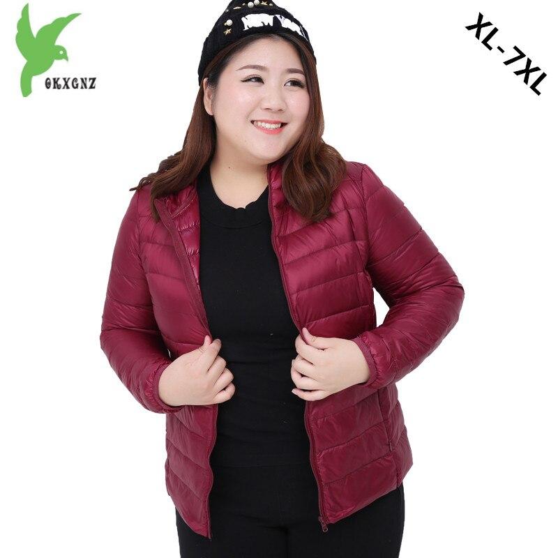 Plus size 7XL Women Autumn Winter Down cotton Jacket Coats Short Parkas Light Thin Warm Jackets Fat MM Hooded Jackets OKXGNZ1180