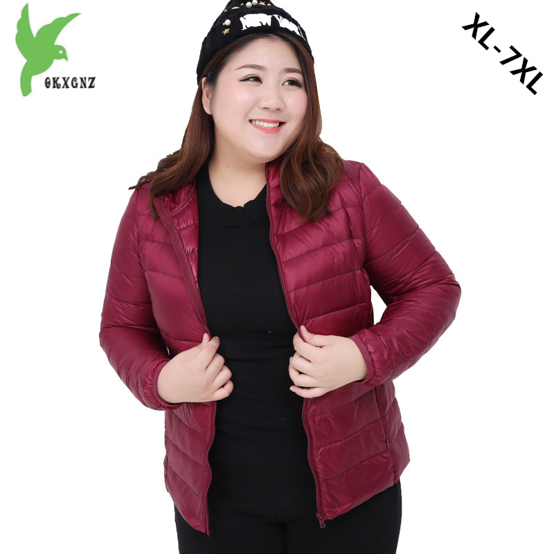 Plus size 7XL Women Autumn Winter Down cotton Jacket Coats Short   Parkas   Light Thin Warm Jackets Fat MM Hooded Jackets OKXGNZ1180