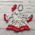 Christmas girls clothes baby kids reindeer print cotton snowflak Winter ruffles dress boutique flare sleeve match necklace&bow