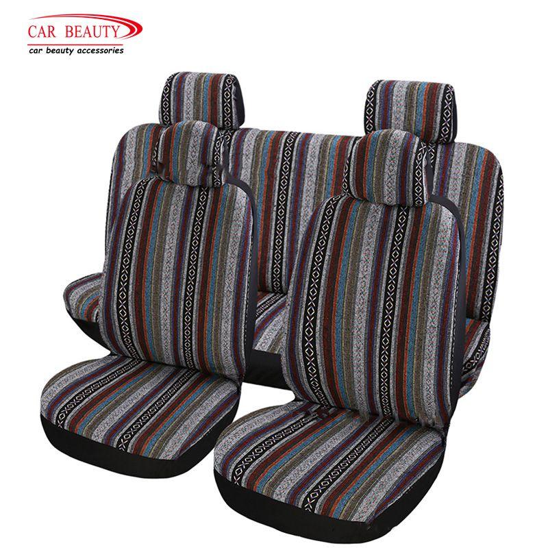 8 pièces/ensemble universel ethnique couleur housse de siège de voiture lin Auto sièges protecteurs décoration accessoires d'intérieur pour Volkswagen