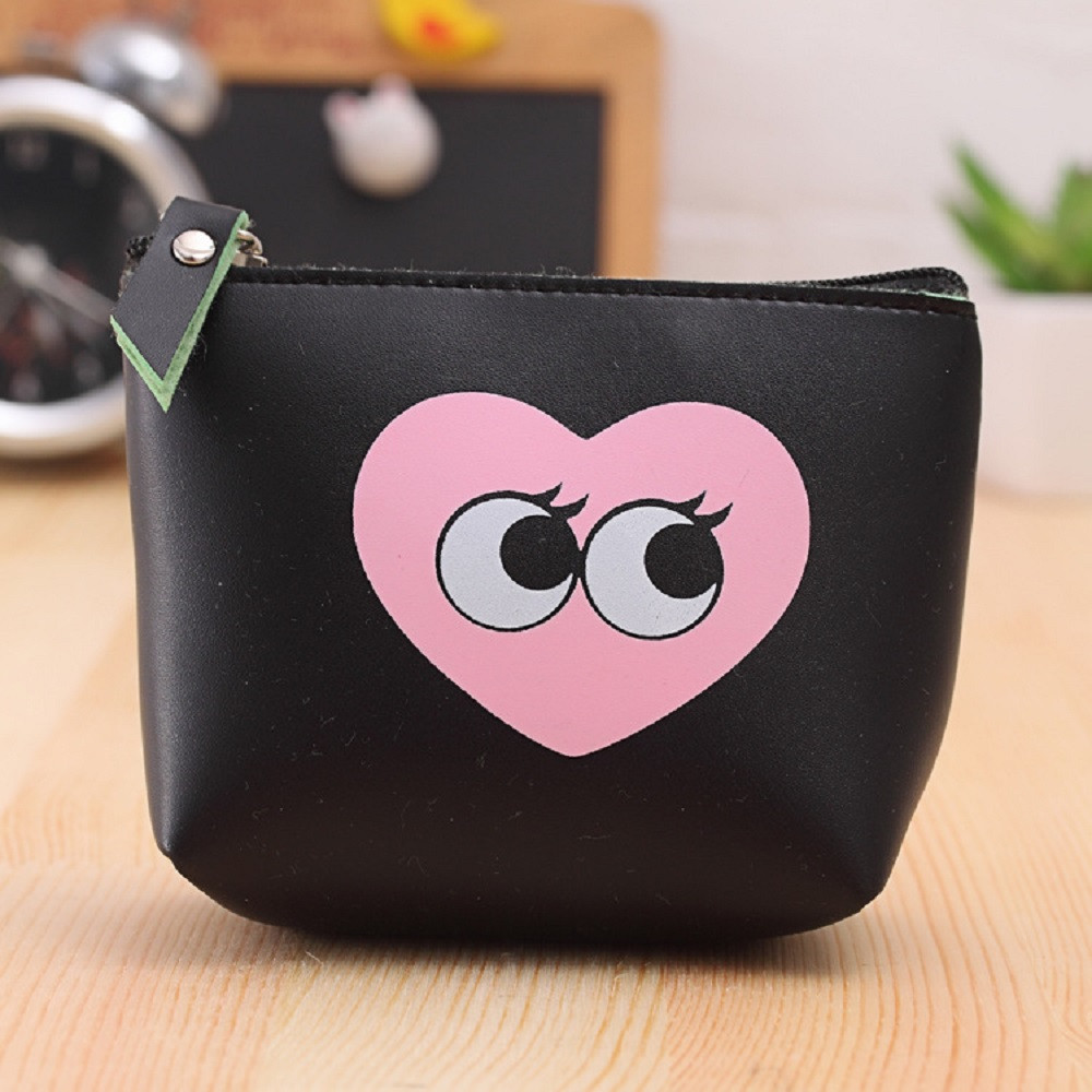 MUQGEW Women Girls Cute Fashion Coin Purse Bag Change Pouch Key Holder Funny cartoon pattern Small wallet Lovely eyes print Bags
