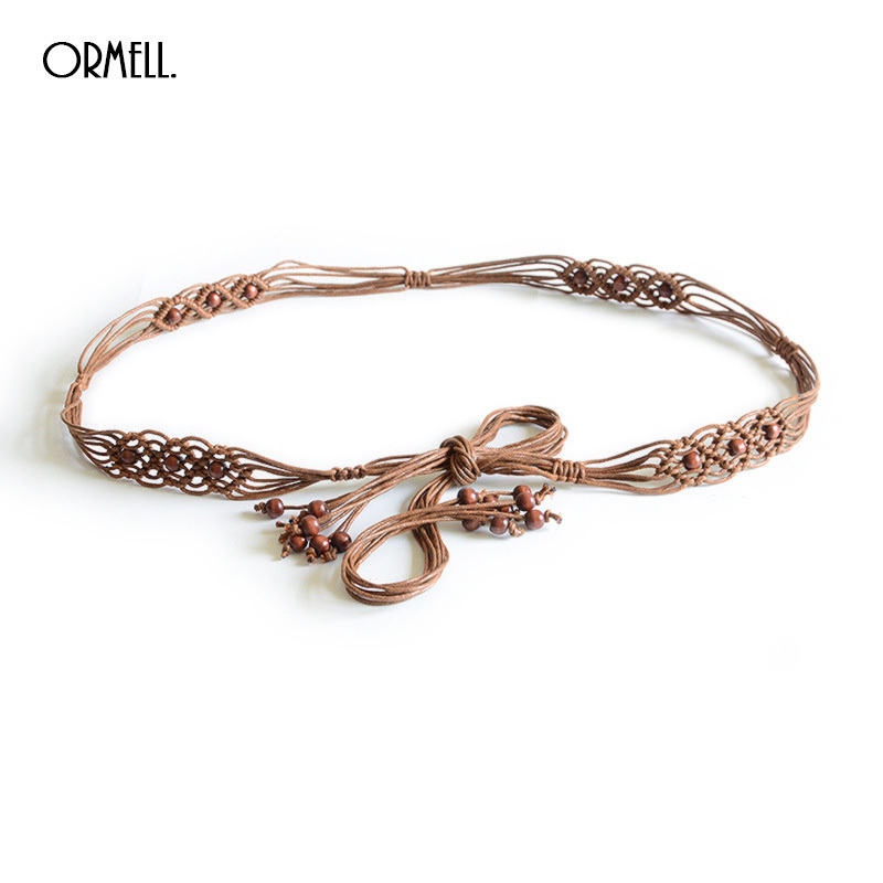ORMELL Bohemian Weave Rope Belt For Women 2018 Boho Hand Made Personality Beads Lady Creative Design Waist Belts Cinturon Mujer
